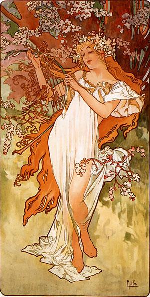 Spring 1896 | Alphonse Mucha | Oil Painting