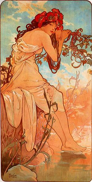 Summer 1896 panel | Alphonse Mucha | Oil Painting