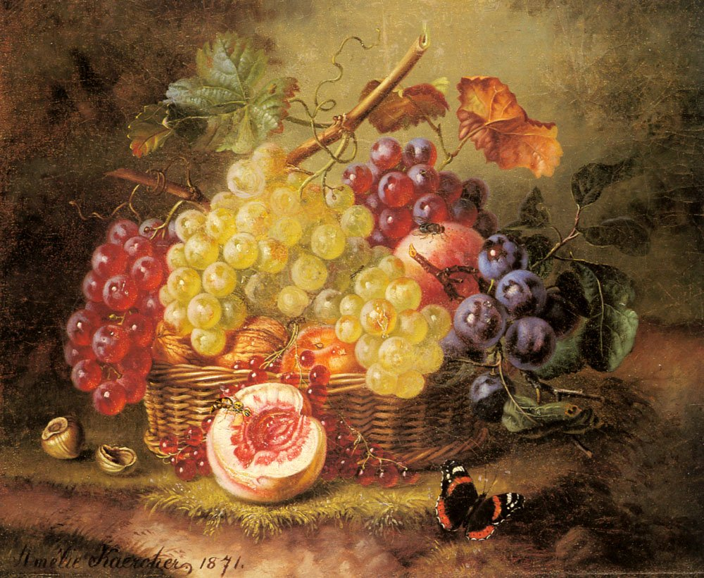 Still Life with Grapes Peaches and a Butterfly on Mossy Bank | Amalie Kaercher | Oil Painting
