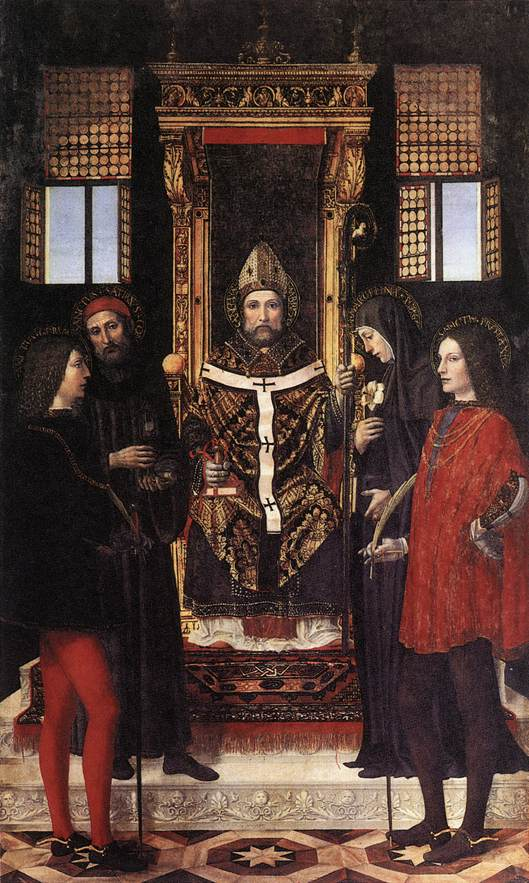 St Ambrose With Saints 1514 | Ambrogio Borgognone | Oil Painting