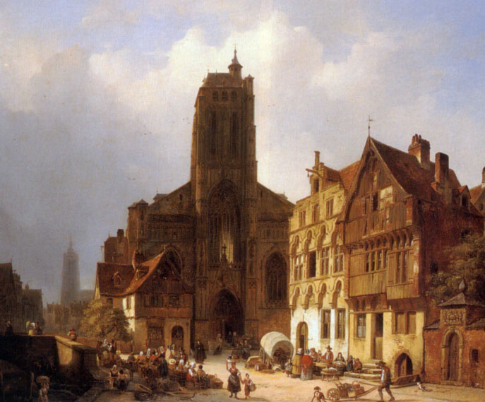 The Market Square In Brunswick | Ambrose Vermerrsch | Oil Painting
