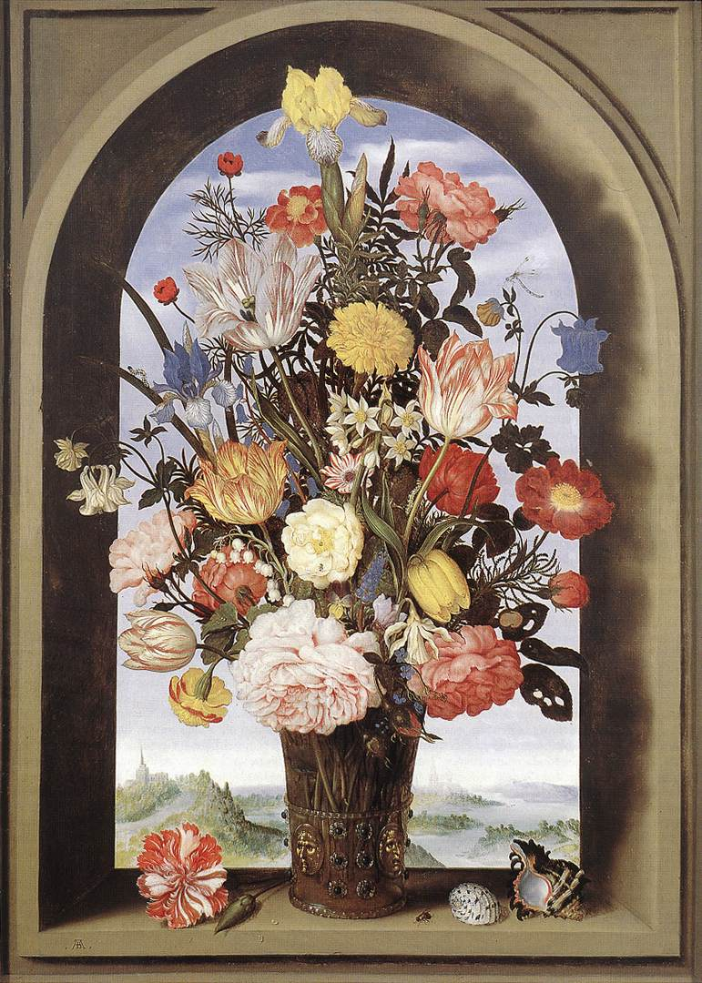 Bouquet In An Arched Window 1620 | Ambrosius The Elder Bosschaert | Oil Painting