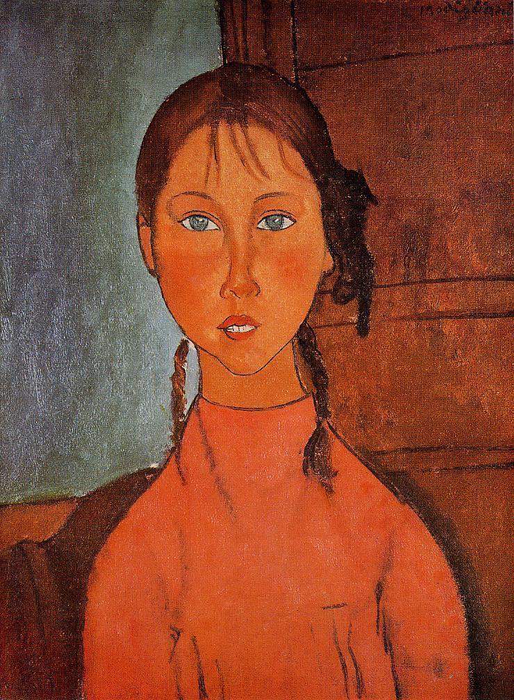 Girl with Braids 1917 | Amedeo Modigliani | Oil Painting