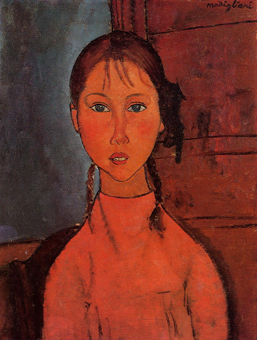 Girl with Braids 1918 | Amedeo Modigliani | Oil Painting