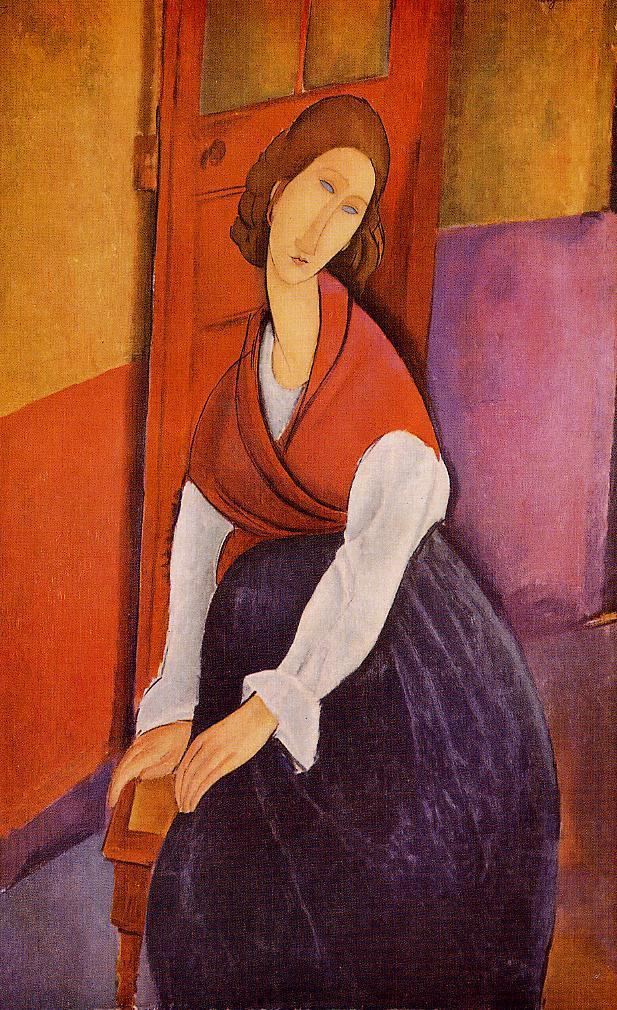 Jeanne Hebuterne (aka In Front of a Door) 1919 | Amedeo Modigliani | Oil Painting