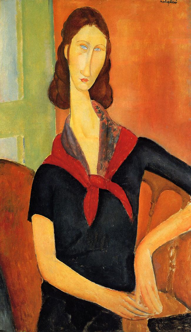 Jeanne Hebuterne in a Scarf 1919 | Amedeo Modigliani | Oil Painting