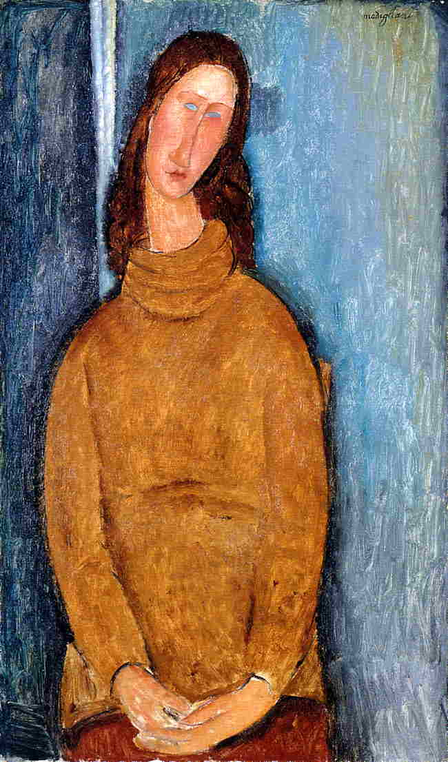 Jeanne Hebuterne in a Yellow Jumper 1919 | Amedeo Modigliani | Oil Painting