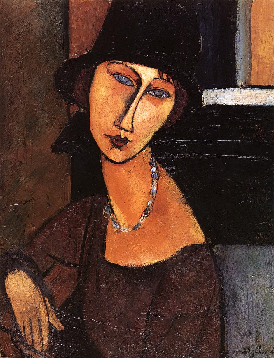 Jeanne Hebuterne with Hat and Necklace 1917 | Amedeo Modigliani | Oil Painting