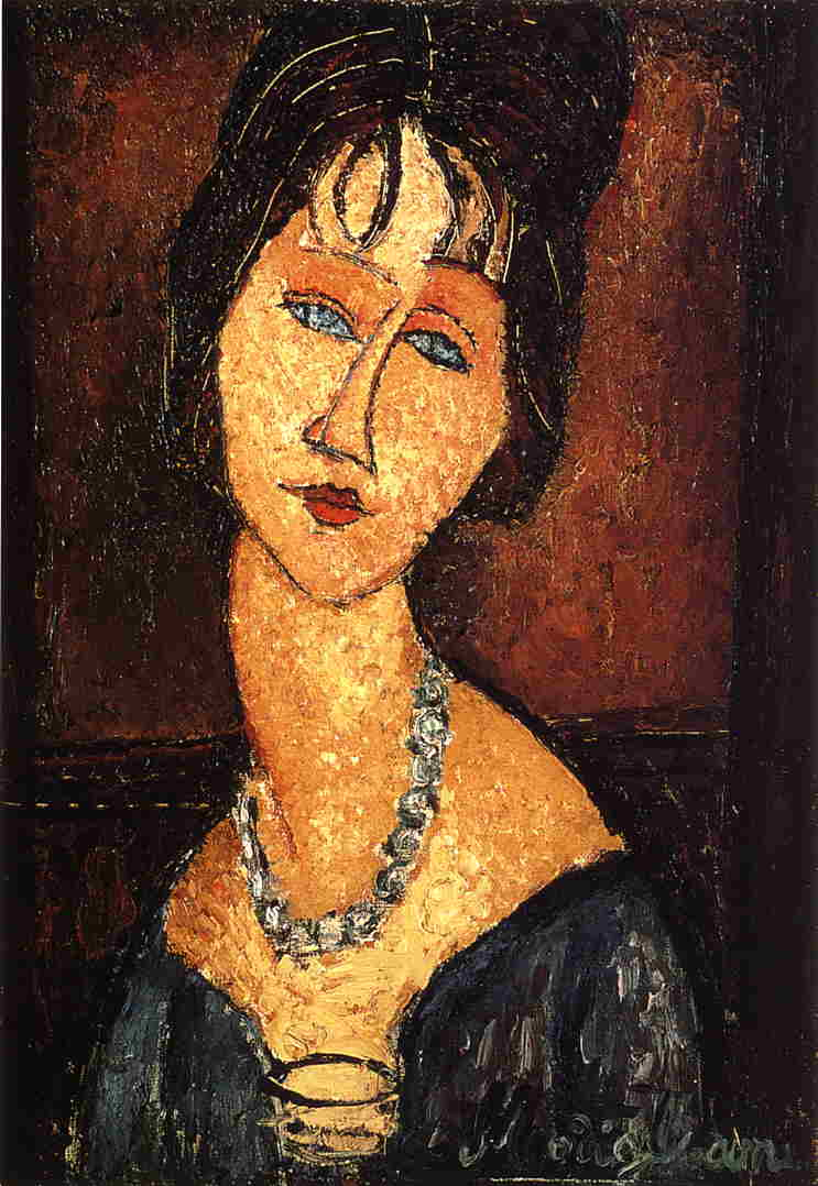 Jeanne Hebuterne with Necklace 1917 | Amedeo Modigliani | Oil Painting