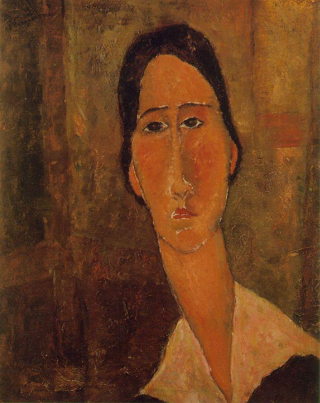 Jeanne Hebuterne with White Collar 1919 | Amedeo Modigliani | Oil Painting