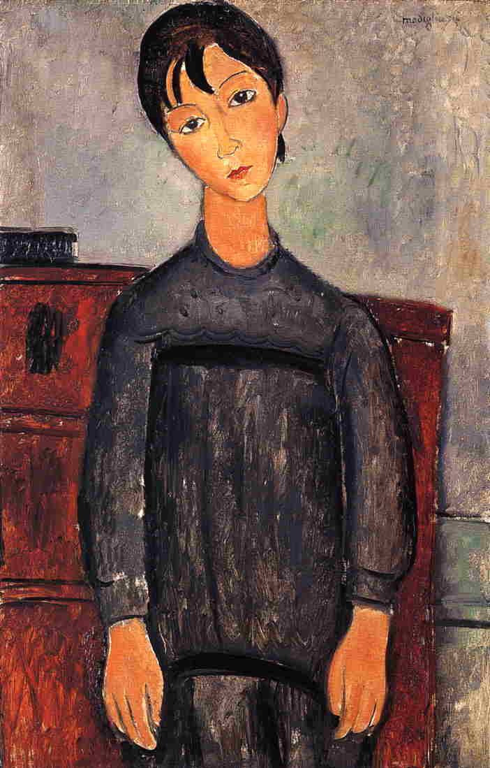 Little Girl in Black Apron 1918 | Amedeo Modigliani | Oil Painting