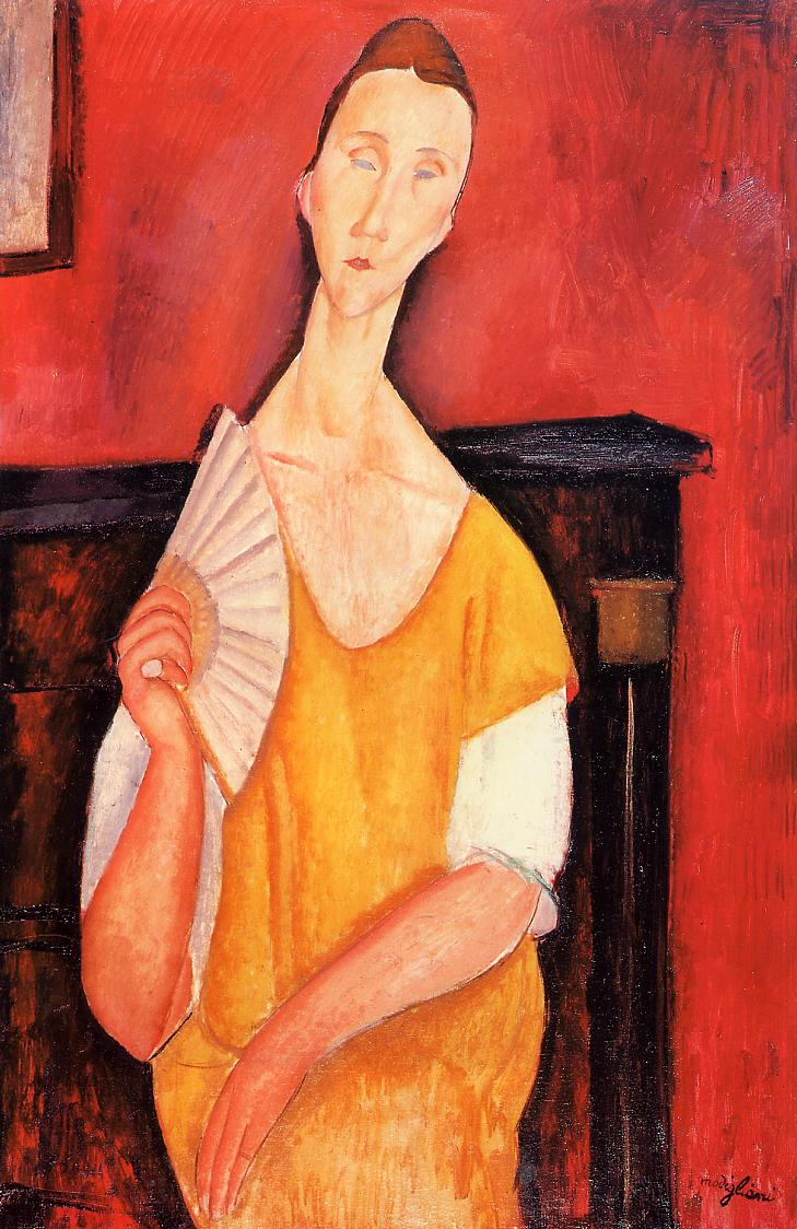 Madame Lunia Czechowska with a Fan 1919 | Amedeo Modigliani | Oil Painting
