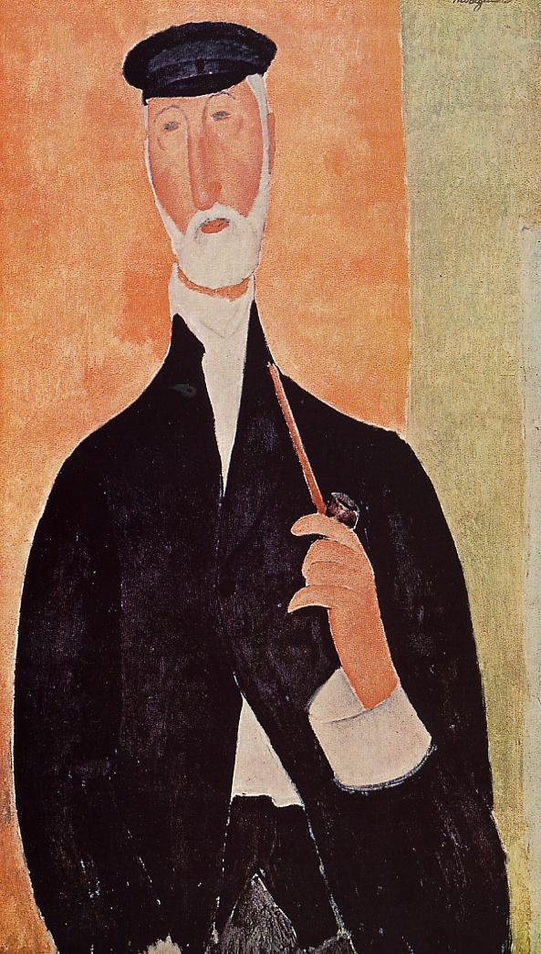 Man with a Pipe (aka The Man from Nice) 1918 | Amedeo Modigliani | Oil Painting