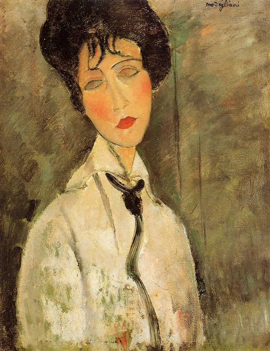 Portrait of a Woman in a Black Tie 1917 | Amedeo Modigliani | Oil Painting