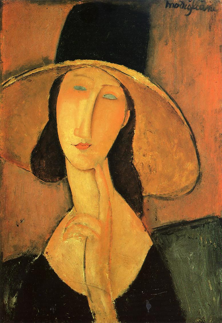 Portrait of a Woman with Hat 1917   Amedeo Modigliani   Oil Painting