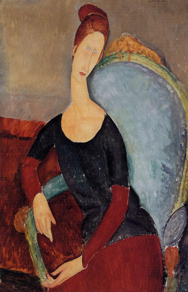 Portrait of Jeanne Hebuterne Seated in an Armchair 1918 | Amedeo Modigliani | Oil Painting