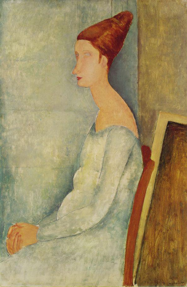 Portrait of Jeanne Hebuterne Seated in Profile 1918 | Amedeo Modigliani | Oil Painting
