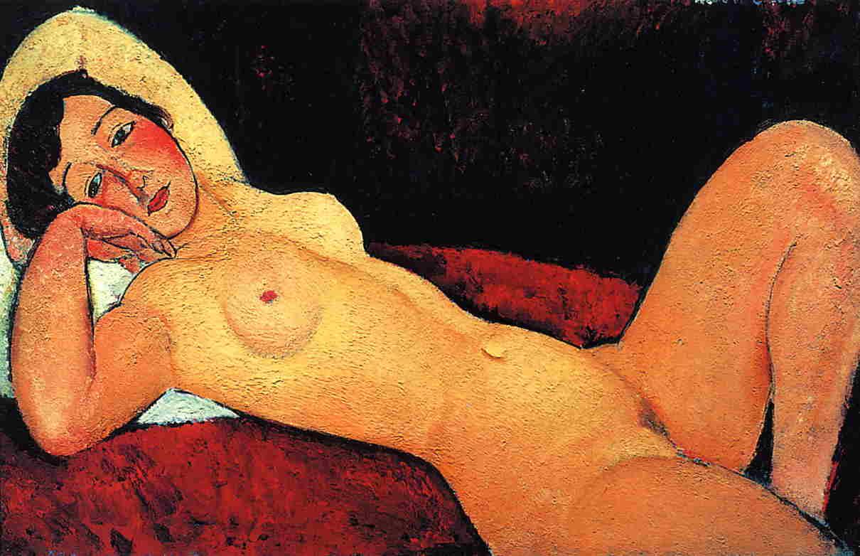Reclining Nude (aka La Reveuse) 1917   Amedeo Modigliani   Oil Painting