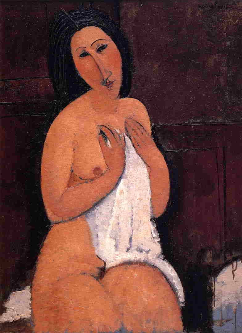Seated Nude with Shift 1917 | Amedeo Modigliani | Oil Painting