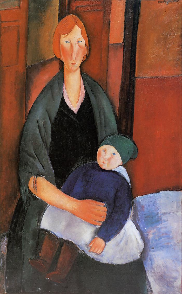 Seated Woman with Child (aka Motherhood) 1919 | Amedeo Modigliani | Oil Painting