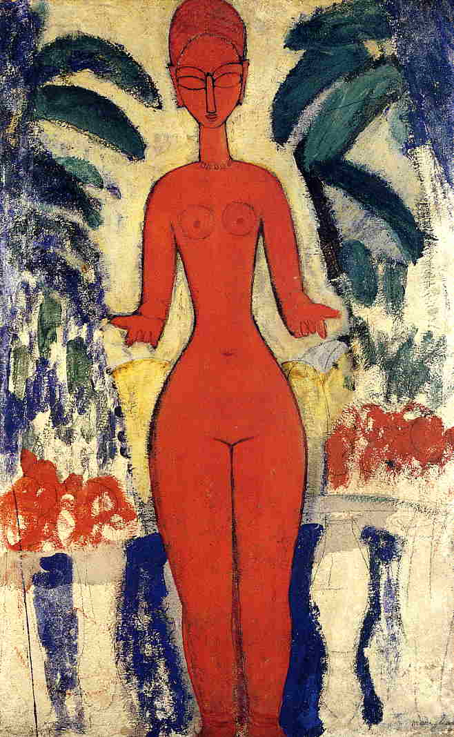 Standing Nude with Garden Background 1913 | Amedeo Modigliani | Oil Painting