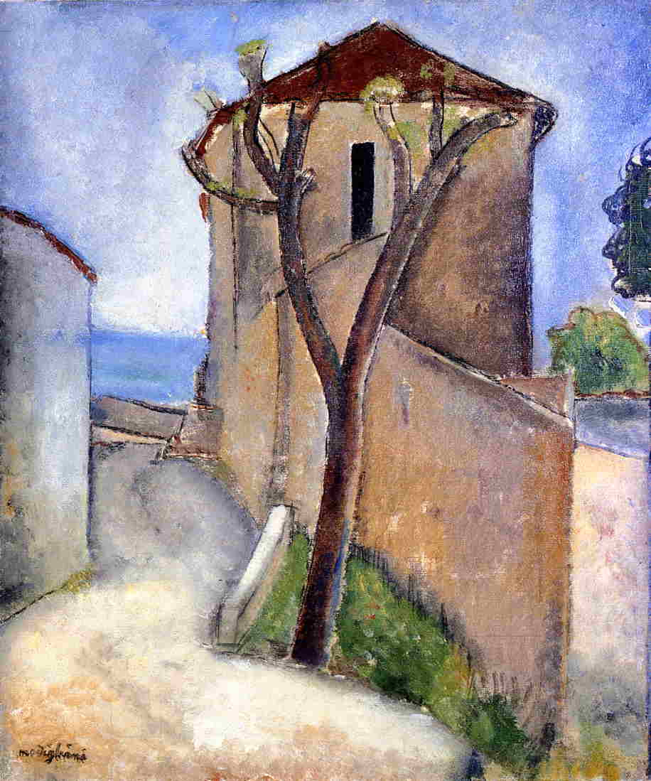 Tree and Houses 1919 | Amedeo Modigliani | Oil Painting