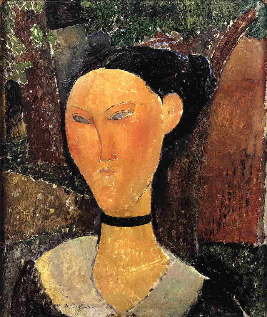 Woman with Velvet Ribbon (aka The Black Border) 1915 | Amedeo Modigliani | Oil Painting