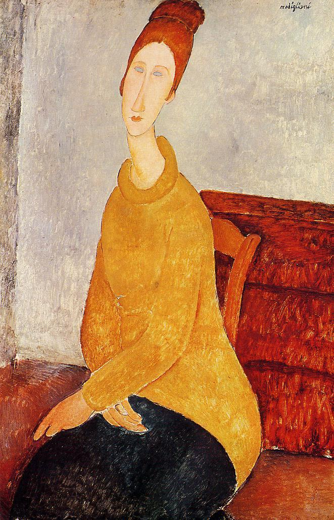Yellow Sweater (aka Portrait of Jeanne Hebuterne) 1919 | Amedeo Modigliani | Oil Painting