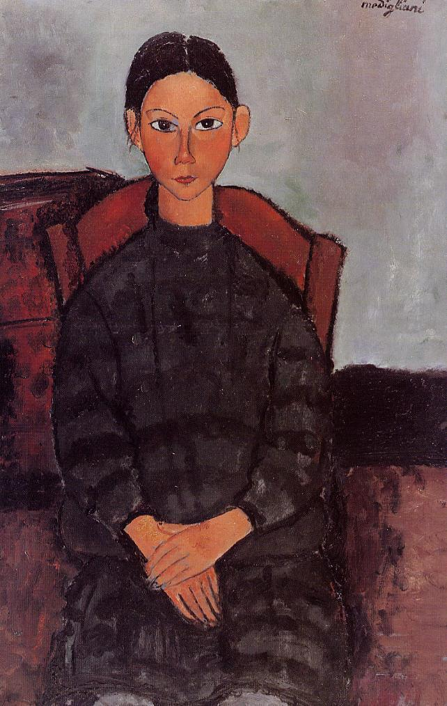 Young Girl in a Black Apron 1918 | Amedeo Modigliani | Oil Painting