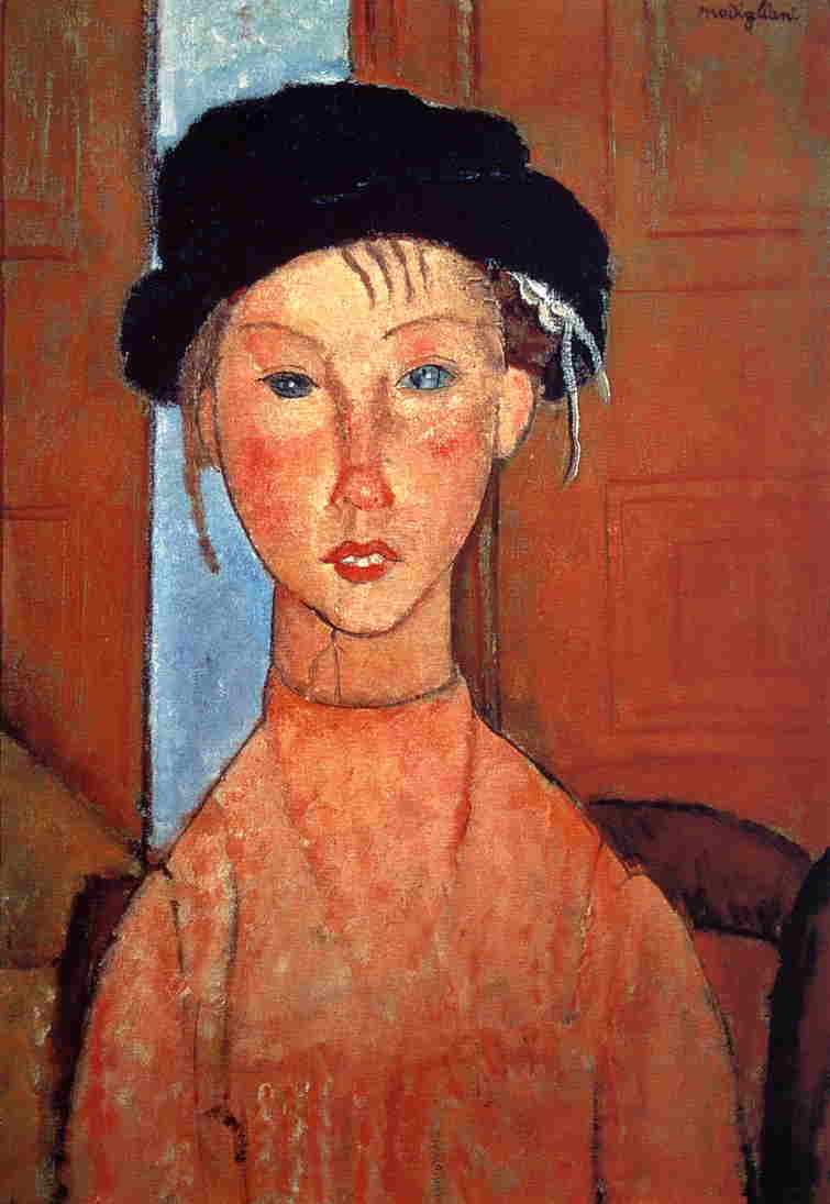 Young Girl in Beret 1918 | Amedeo Modigliani | Oil Painting