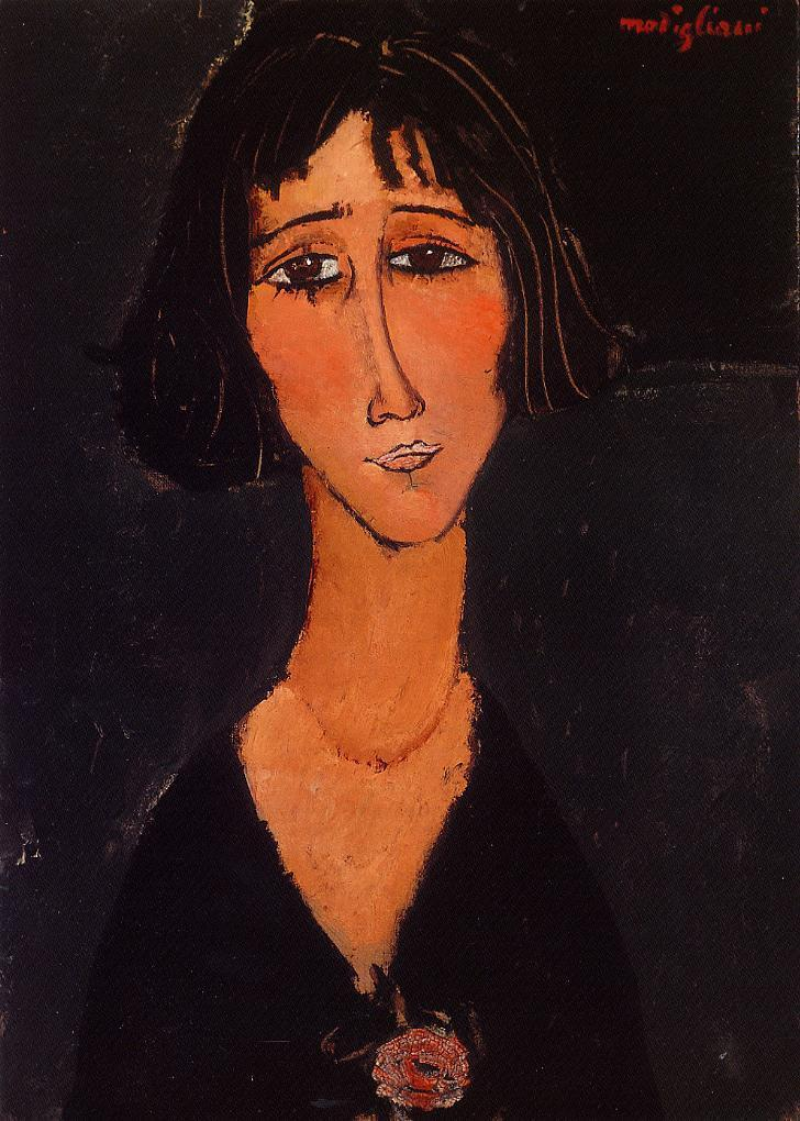 Young Girl Wearing a Rose 1916 | Amedeo Modigliani | Oil Painting