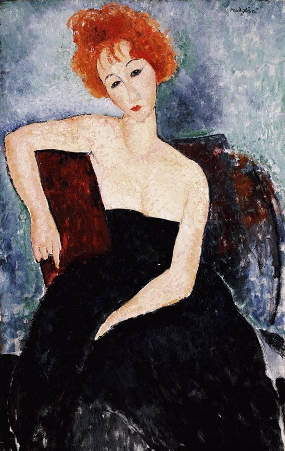 Young Redhead in an Evening Dress 1918 | Amedeo Modigliani | Oil Painting