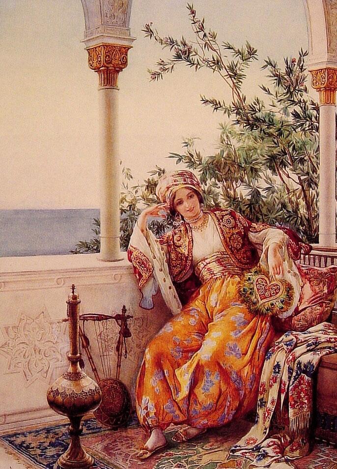On The Balcony   Amedeo Momo Simonetti   Oil Painting