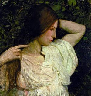 Girl Arranging Her Hair 1918 1919 | Abbott Handerson Thayer | Oil Painting