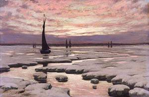Winter Sunset About 1890 | Birge Harrison | Oil Painting