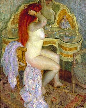 Nude Seated At Her Dressing Table 1909 | Frederick Carl Frieseke | Oil Painting