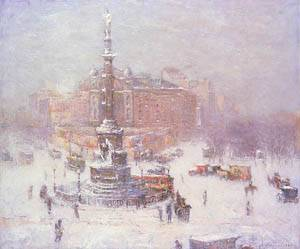 Columbus Circle Winter 1911 | Guy Wiggins | Oil Painting