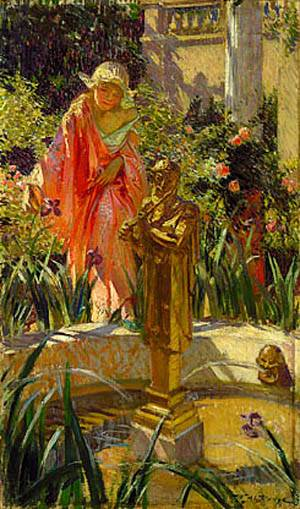 Stepping In The Fountain About 1916 | William de Leftwich Dodge | Oil Painting