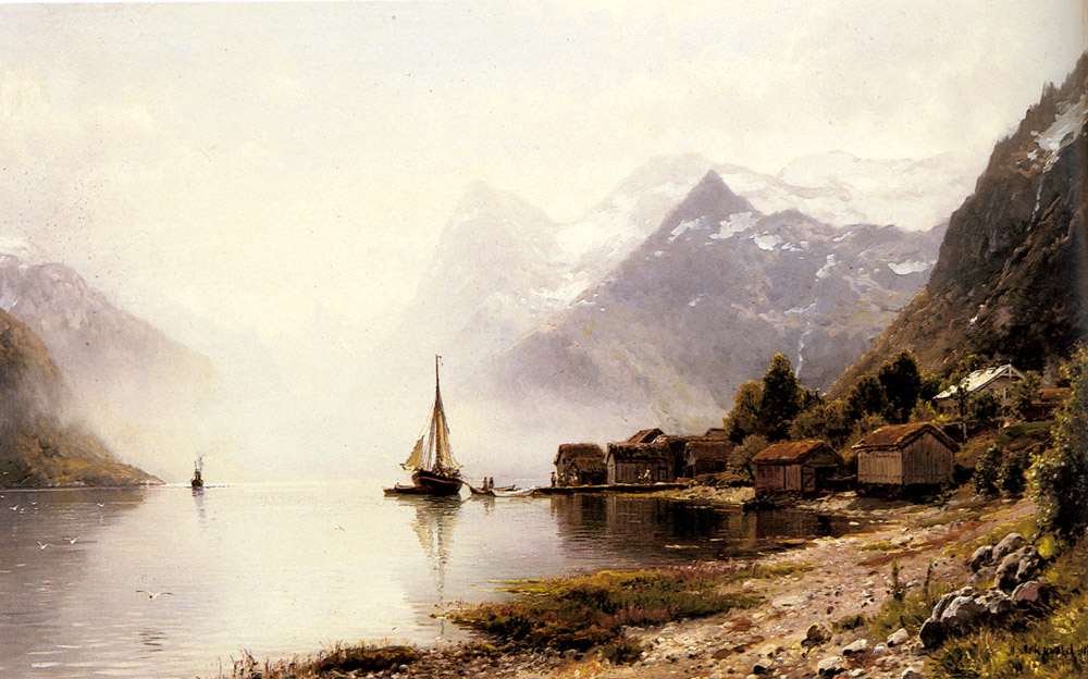 Norwegian Fjord With Snow Capped Mountain | Anders Monsen Askevold | Oil Painting