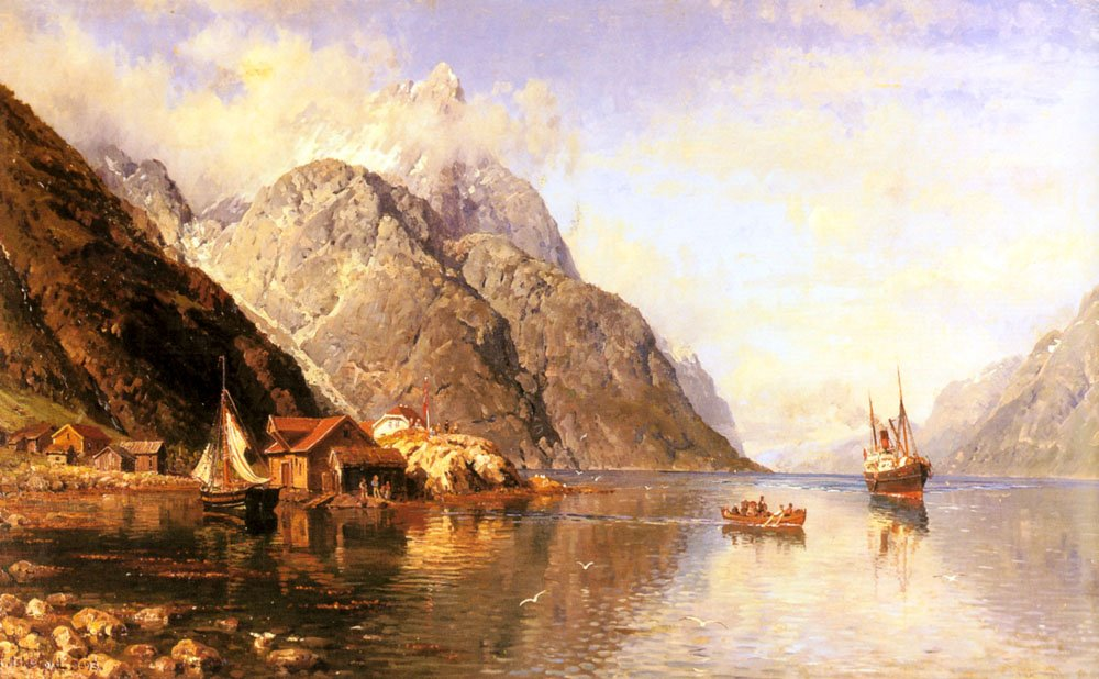 Village On A Fjord | Anders Monsen Askevold | Oil Painting
