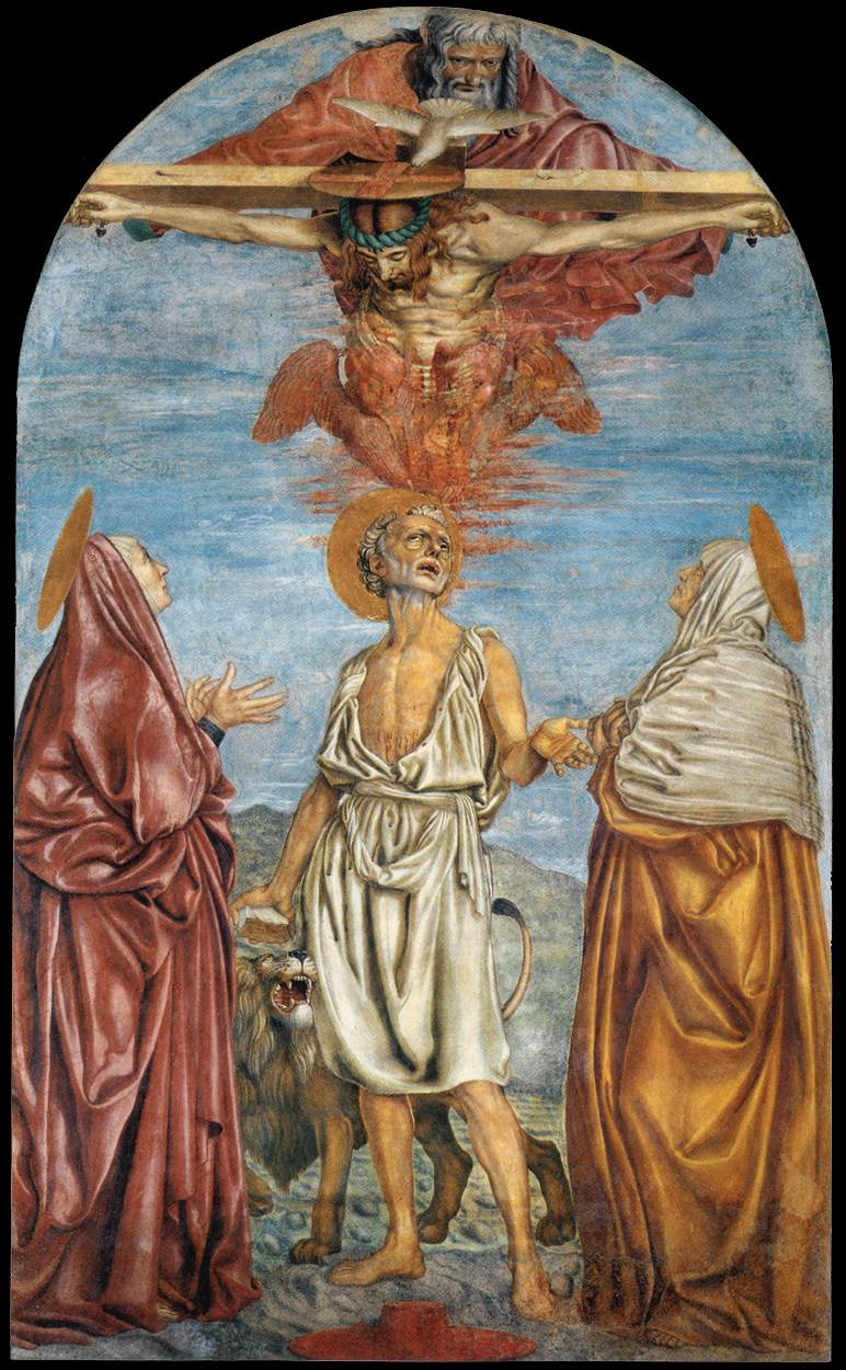 The Holy Trinity St Jerome and Two Saints | Andrea Del Castagno | Oil Painting