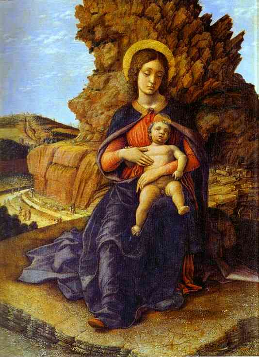 Madonna And Child (Madonna Of The Caves) Galleria Degli Uffizi Florence Italy | Andrea Mantegna | Oil Painting