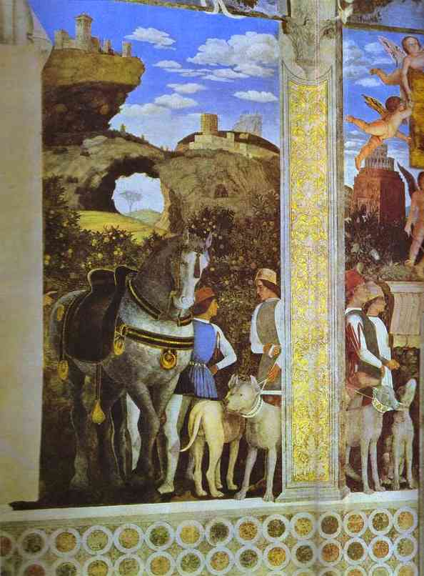 Marquess Ludovico Greeting His Son Cardinal Francesco Gonzaga Detail 1 1465-74 | Andrea Mantegna | Oil Painting