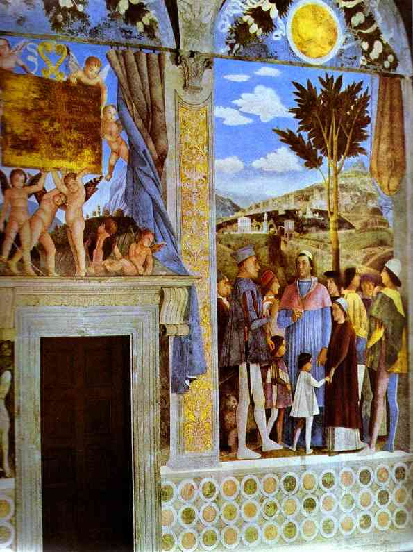 Marquess Ludovico Greeting His Son Cardinal Francesco Gonzaga Detail 2 1465-74 | Andrea Mantegna | Oil Painting