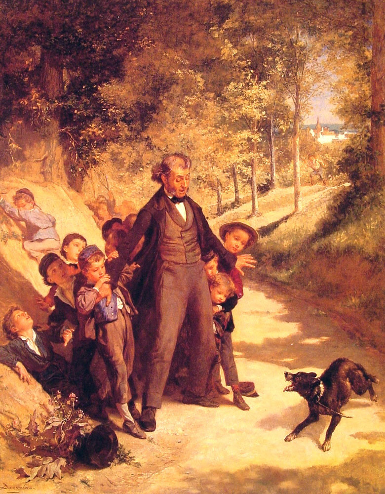 Protecting The Schoolchildren   Andre Henri Dargelas   Oil Painting