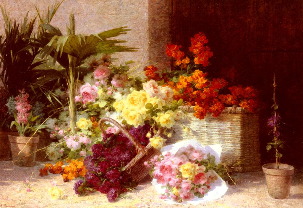 Chez la Marchande de Fleurs   Andre Perrachon   Oil Painting