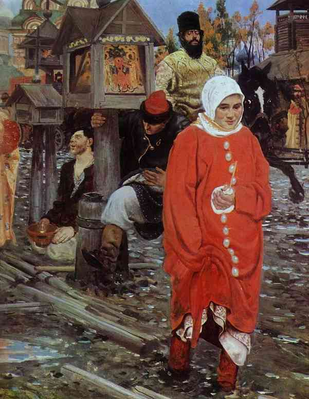 A XVII Century Moscow Street On A Holiday Detail 1895 | Andrey Ryabushkin | Oil Painting
