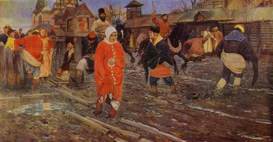 A XVII Century Moscow Street On A Holiday Detail 3 1895 | Andrey Ryabushkin | Oil Painting