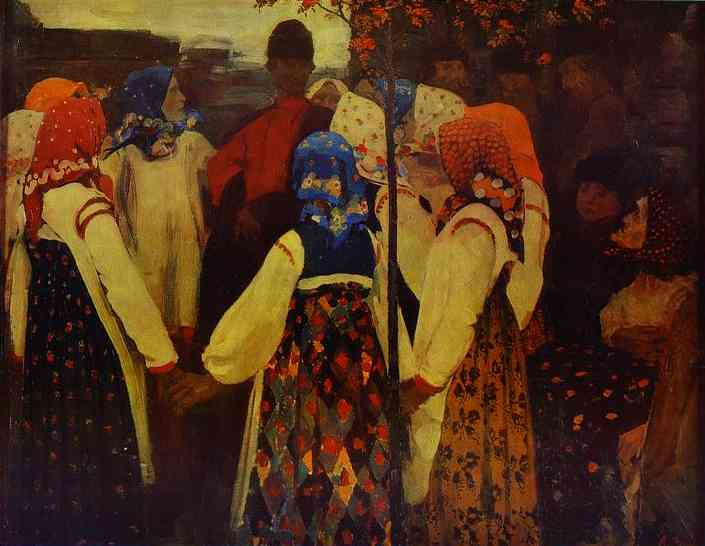 A Young Man Breaking Into The Girls Dance And The Old Women Are In Panic 1902 | Andrey Ryabushkin | Oil Painting