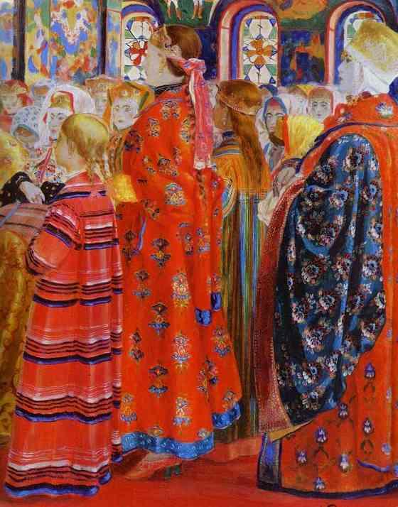Russian Women Of The XVII Century In A Church Detail 1899 | Andrey Ryabushkin | Oil Painting
